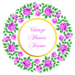 Vintage frame with roses