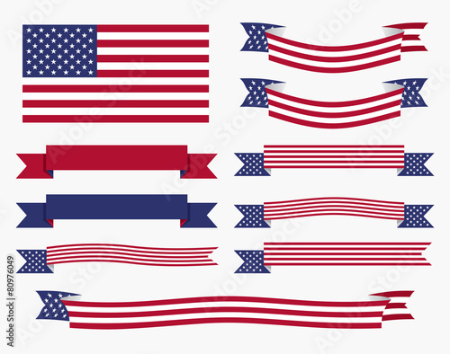 quotred white blue american flag ribbon and bannerquot stock