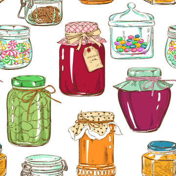 Colorful seamless pattern of mason jars