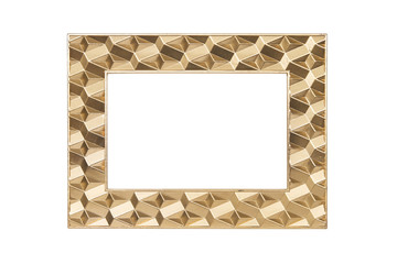 Modern gold picture frame isolated with clipping path.
