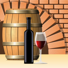 Vector wine cellar with wine bottle and glass