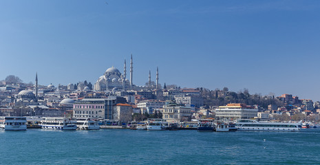 New Mosque and Suleymaniye Mosque in Istanbul