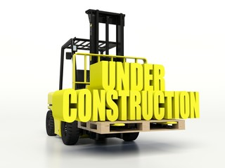 Forklift truck carrying Under Construction words.