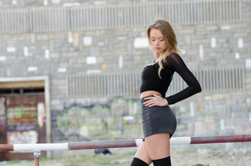 Attractive blonde wearing sexy mini skirt