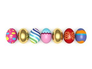 Colorful Easter eggs. 3d render illustration.