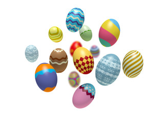 Colorful Easter eggs. 3d render illustration.
