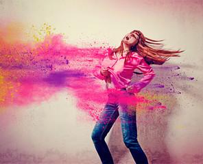 girl with exploding powder splash - movin 07