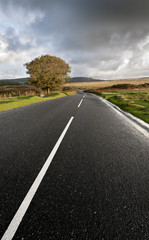 An open road on the edge of Dartmoor in Devon, United Kingdom.