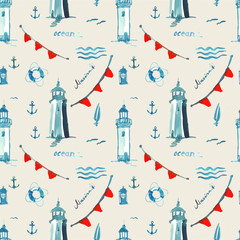 watercolor sea pattern with lighthouse and lamp