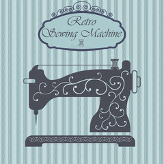Retro sewing machine, Vintage sign design. Old fashiond theme