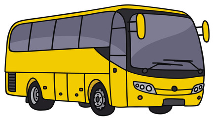Hand drawing of a yellow bus
