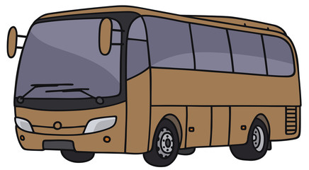 Hand drawing of a brown bus