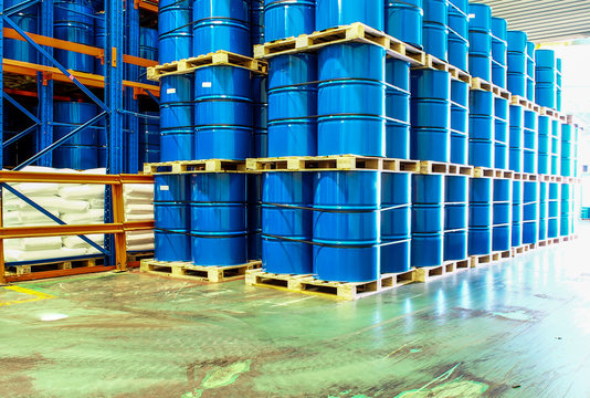 steel drums stored in warehouse