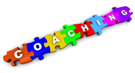 Тренировка (coaching). Надпись на разноцветных пазлах