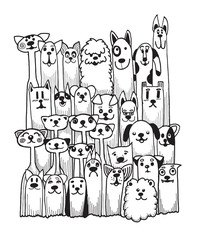 hand drawn doodle Funny Dogs Set