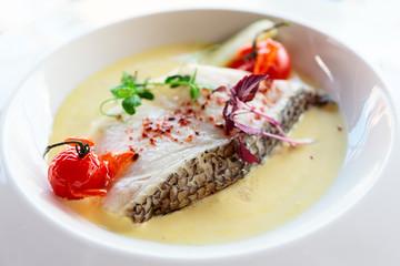 Chilean seabass fillet in plate