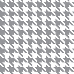 White & Gray Houndstooth Check Fabric Pattern Texture