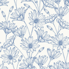 Seamless pattern with daisies.