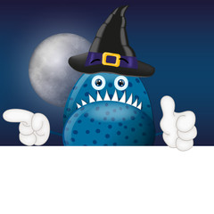 Monster Garry with Magic Hat Halloween Cartoon Advertising Space