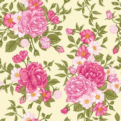 Romantic seamless pattern with pink roses on a light background