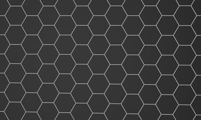 Abstract composition of hexagons of geometric shapes