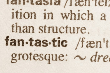 Dictionary definition of word fantastic