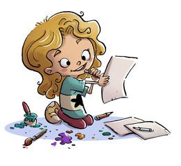 niña pintando un dibujo