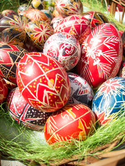 Traditional romanian handcrafted nicely decorated easter eggs
