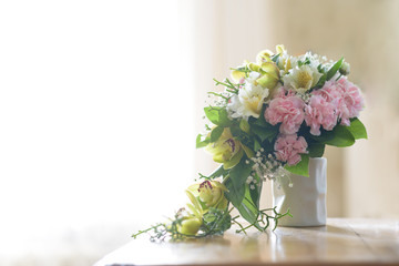 Nice and pretty bride bouquet in the vaze