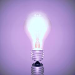 Brightly burning electrical light bulb.
