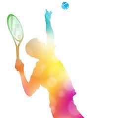 Abstract Tennis Player Serving in Beautiful Summer Haze.