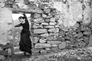 Flameco dancer in a ruined house