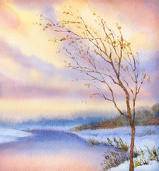 Watercolor landscape. Yellowed tree over snow-covered lake