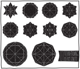 Set with filled black geometric shapes and elements with frame,