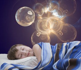 Sleeping girl on abstract background