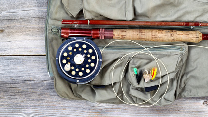 Trout fishing gear on fishing vest