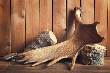 Moose antler with firewood on wooden background