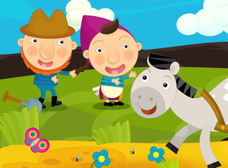 Cartoon happy and funny traditional farm scene - happy pair of farmers near the path where horse is running - illustration for children