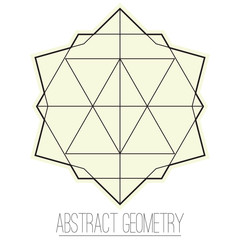 Abstract geometric figure with rhombus, triangle and polygon