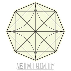 Abstract geometric figure with rhombus, square, circle