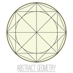 Abstract geometric figure with rhombus, circle, square