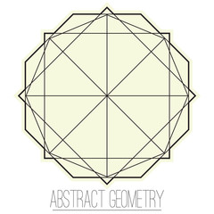 Simple abstract geometric figure with square and polygon
