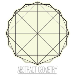 Simple geometric figure with square and polygon