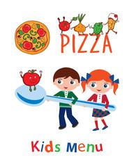 Kids menu. Menu for pizzeria. Cover for children's menu.