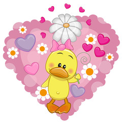 Duck with hearts and flower