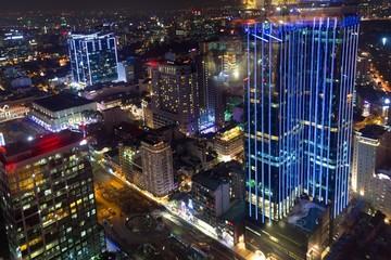 Saigon night cityscape