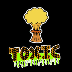 nuclear, toxic blast over black color background