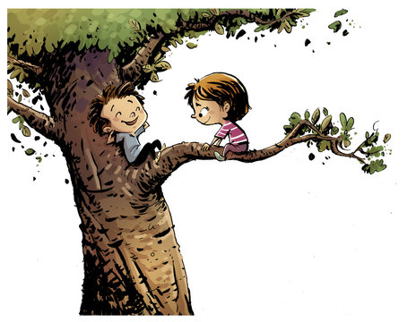 niños subidos a un arbol