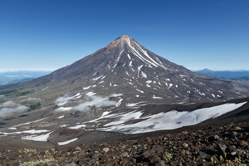 Mountain Kamchatka landscape: view on active Koryaksky Volcano