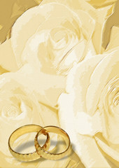 Yellow wedding greeting blank with two rings